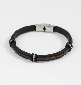 Marpa Eager Brown Black Silver Men's Leather Silicone Bracelet - 193