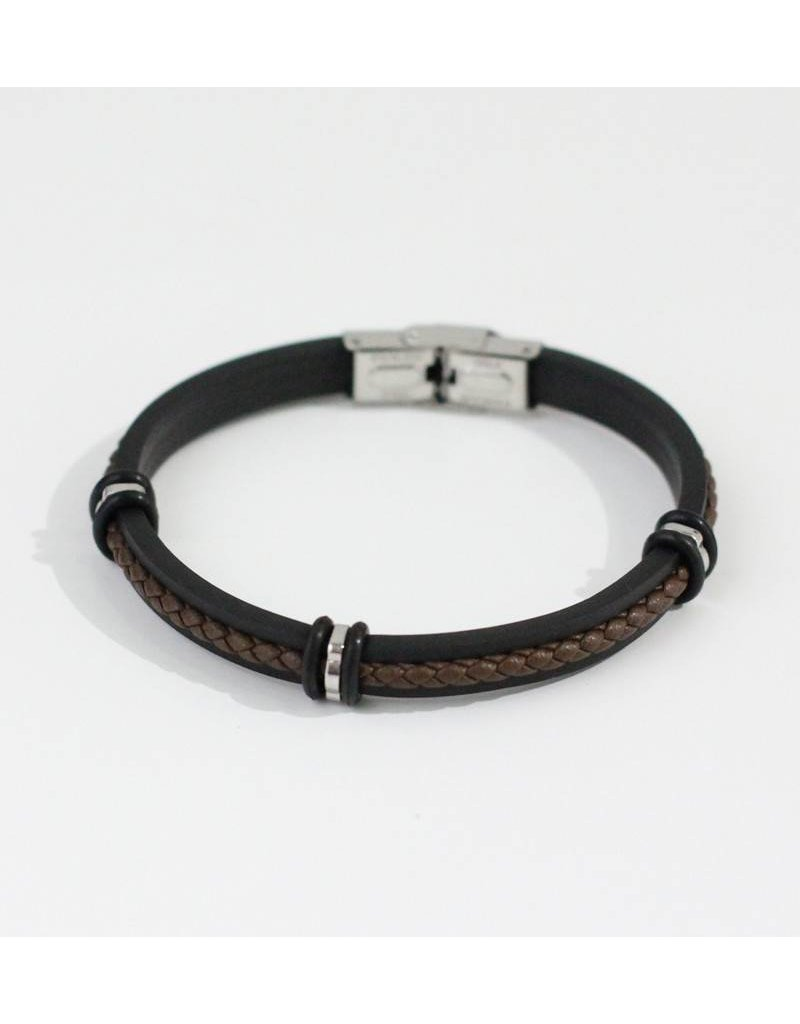 Crossroads Accessories Inc Brown Black Silver Men's Leather Silicone Bracelet - 193