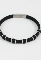 Marpa Eager Black Silver Men's Silicone Bracelet - 194