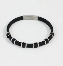 Crossroads Accessories Inc Black Silver Men's Silicone Bracelet - 194