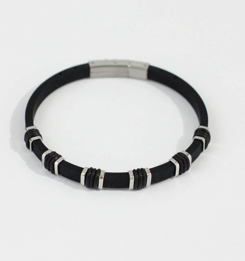 Marpa Eager Black Silver Silicone Bracelet - 194
