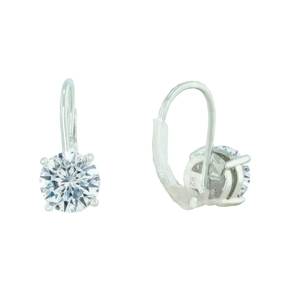 Estella J Platinum Plated Roud CZ 2.06 ct Drop