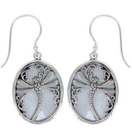 Vera + Wolf Dragonfly Mother of Pearl Shell Sterling Silver Earrings
