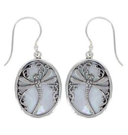 Vera Wolf Dragonfly Mother of Pearl Shell Sterling Silver Earrings
