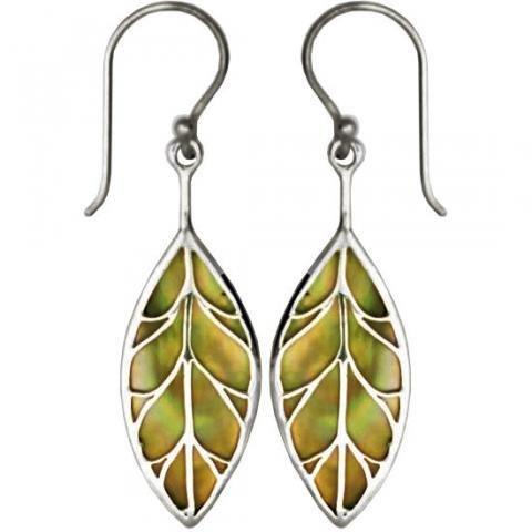 Vera + Wolf Leaf Tan Shell Sterling Silver Earrings