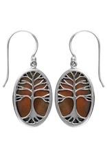 Vera Wolf Tan Shell Tree of Life Sterling Silver Earrings