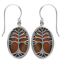 Vera Wolf Tan Shell Tree of Life Sterling Silver Earrings