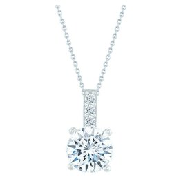 Estella J Platinum Over Sterling Silver 1.08ct CZ Pendant Necklace