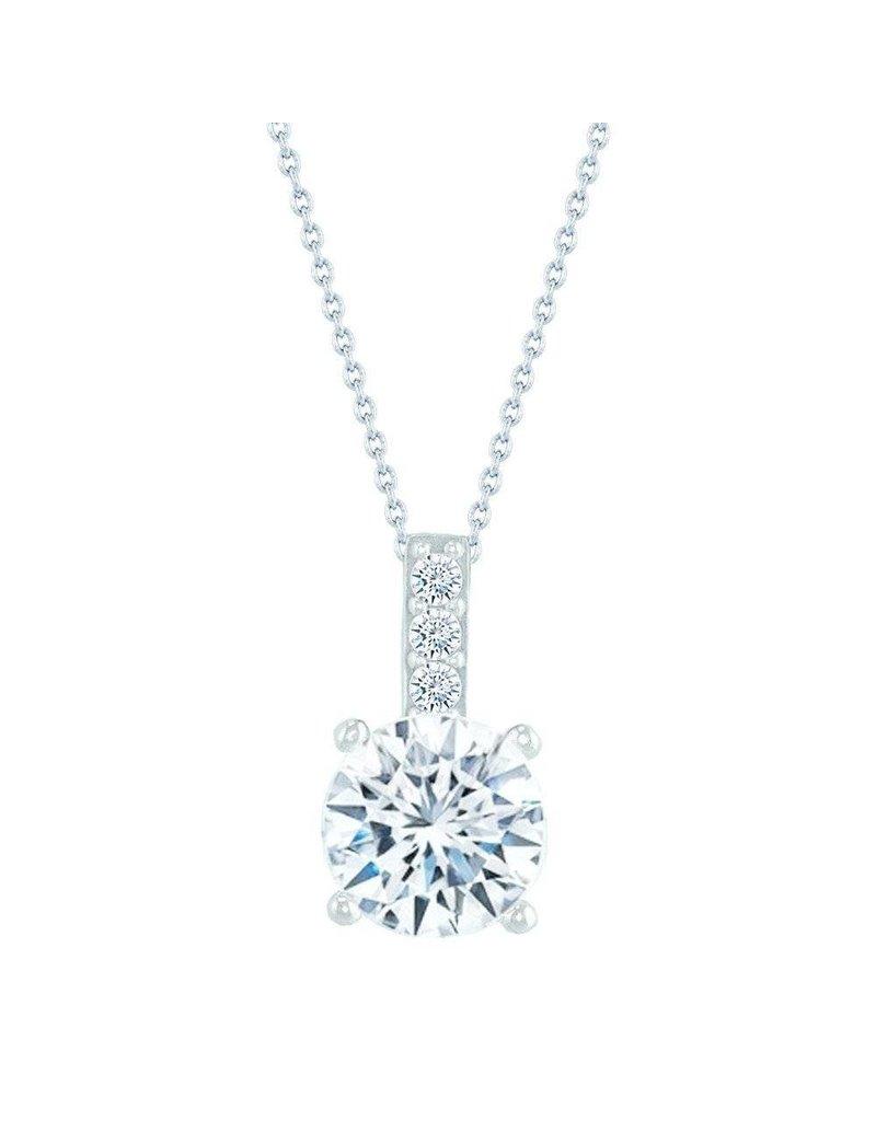 Estella J Platinum Over Sterling Silver 1.08ct CZ Pendant Necklace