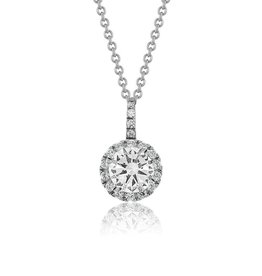 Estella J Platinum Over Sterling Silver 1.09ct CZ Classic Round Pendant Necklace