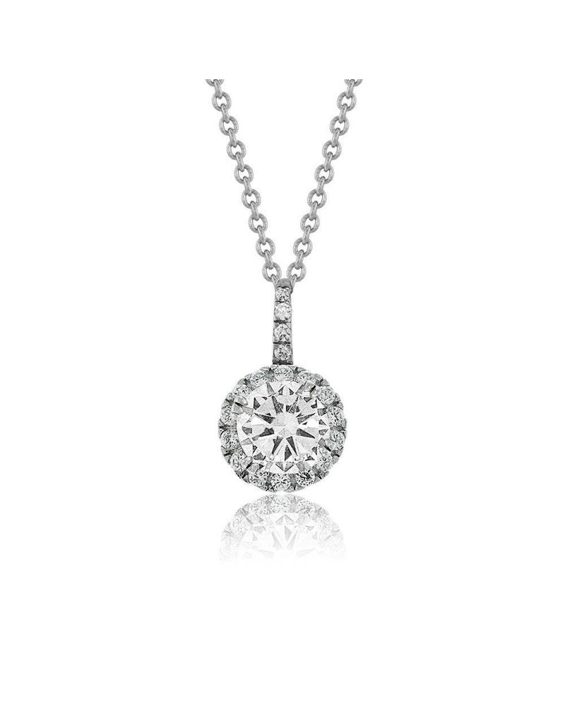 Estella J Platinum Over Sterling Silver 1.09ct CZ Classic Round Pendant Necklace