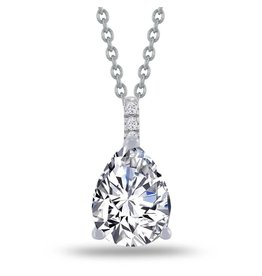 Estella J Platinum Over Sterling Silver 1.83ct CZ Pear Drop Pave Pendant Necklace