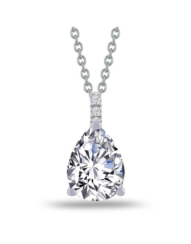 Estella J Platinum Over Sterling Silver 1.83ct CZ Pear Drop Pave Pendant Necklace