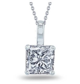Estella J Platinum Over Sterling Silver 1.24ct CZ Pendant Necklace