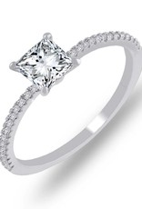 Estella J Platinum Over Sterling Silver 0.83ct CZ Ring