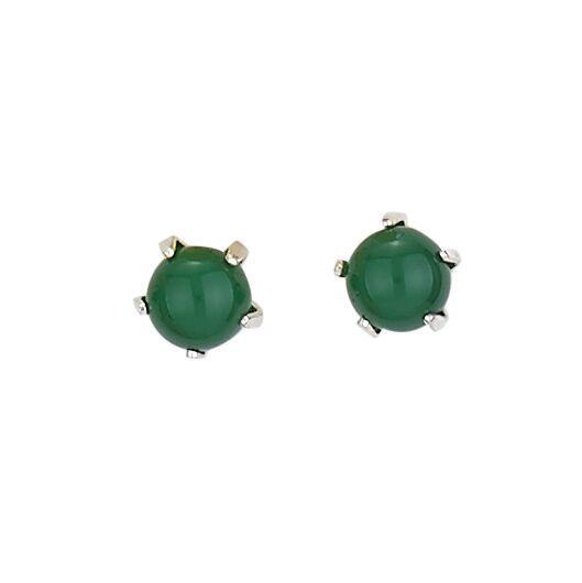 Steven + Clea Tiny Dark Jade Stud Earrings