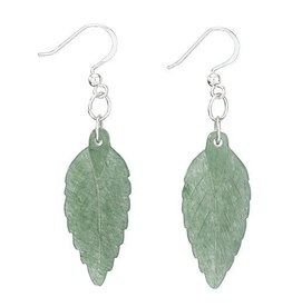 Tiger Mountain Aventurine Carved Leaf Earring