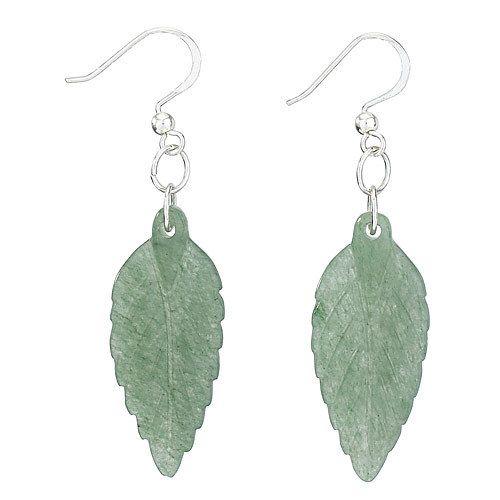 Steven + Clea Aventurine Carved Leaf Earring