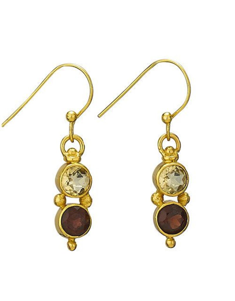 Tiger Mountain Citrine Garnet Gold Plated Earrings