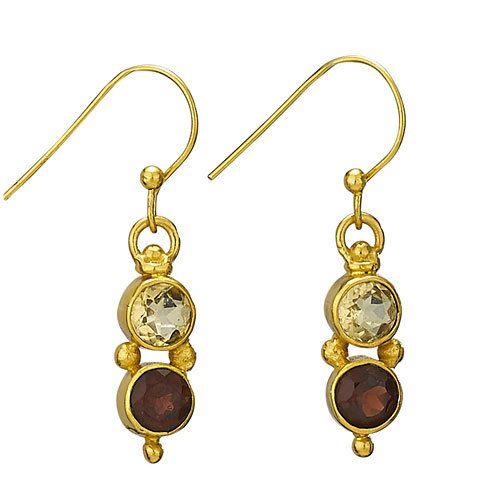 Steven + Clea Citrine Garnet Gold Plated Earrings