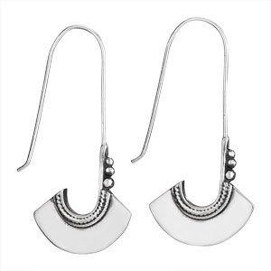 Steven + Clea Long Wire Flat Paddle Sterling Silver Earrings