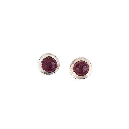 Steven + Clea Round Garnet Stud Earrings