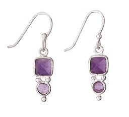 Steven + Clea Square/Round Amethyst Earring