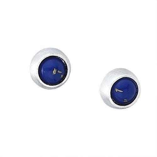 Steven + Clea Round Lapis Sterling Silver Stud Earrings