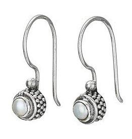 Steven + Clea Small Round Pearl Hook Earrings
