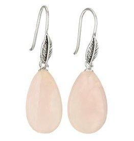Steven + Clea Rose Quartz Drop Leaf Earrings