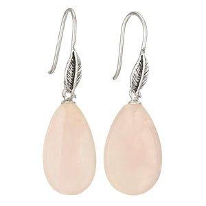 Steven + Clea Rose Quartz Drop Leaf Earrings