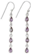 Steven + Clea 4 Drop Amethyst Earrings