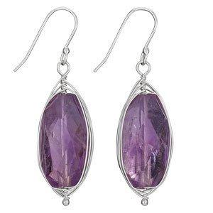Steven + Clea Amethyst Facet Wire Wrap Earrings