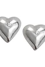 Steven + Clea Tiny Heart Stud Silver Earrings