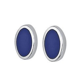 Steven + Clea Oval Lapis Sterling Silver Post Earrings