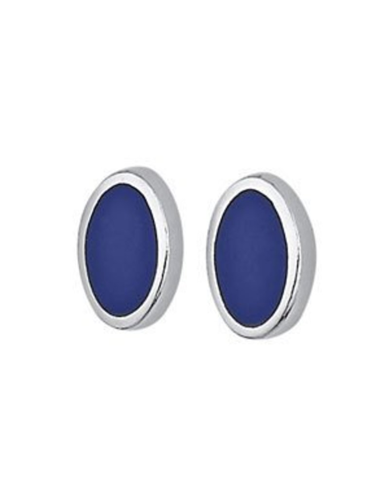 Tiger Mountain Oval Lapis Post Earrings