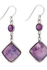 Steven + Clea Amethyst Square Dangle Earrings