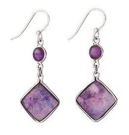 Steven + Clea Amethyst Square Dangle Earrings