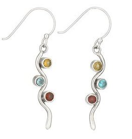 Steven + Clea Citrine, Blue Topaz, Garnet Wave Earrings