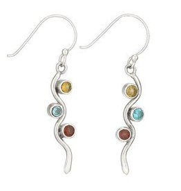 Tiger Mountain Citrine, Blue Topaz, Garnet Wave Earrings