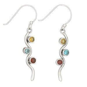 Steven + Clea Citrine, Blue Topaz, Garnet Wave Earrings