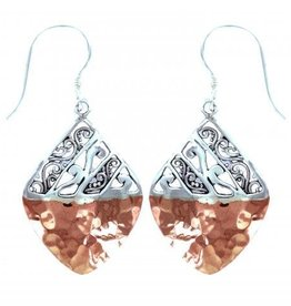 Vera + Wolf Hammered Copper Sterling Silver Square Earring