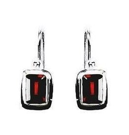 Vera Wolf Garnet Small Block Sterling Silver Earrings