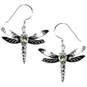 Vera + Wolf Dragonfly With Peridot Earring