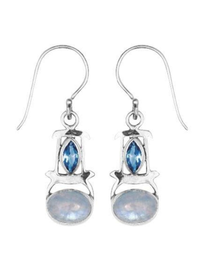 Vera Wolf Sterling Silver Double Gem Earrings