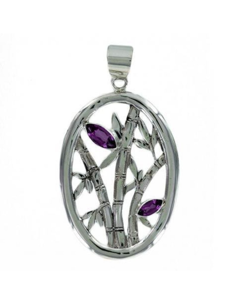 Vera Wolf Amethyst 2 Stone Bamboo Silver Oval Pendant