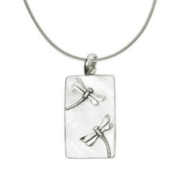 Vera + Wolf Mother of Pearl w Dragonfly Bar Pendant