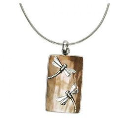 Vera Wolf Shell Tan w Dragonfly Bar Pendant