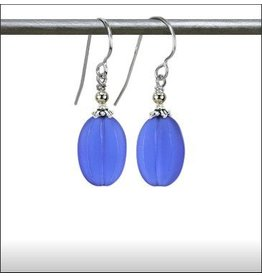 Austin Design Melon Sea Glass Deep Blue Earring