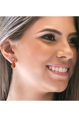 Esmeralda Lambert Amber Sterling Silver Earrings Tear Drop Small